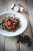 Seaweed pasta with smoked chilli