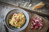 Spaghetti carbonara with coppa ham and parmesan