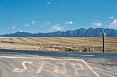 The N2 road near Greyton with a view of the Riviersonderend mountain range in Cape Town, South Africa