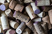Lots of wine corks (seen from above)