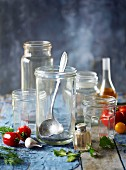 Various empty glass jars