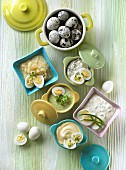 Partridge eggs with five sauces - mayo, horsradish, sour cream, sheese, nuts and coliander