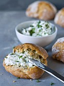 Thyme and coriander rolls with herb quark
