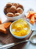 Mostarda Mantovana candied apple fruit with mustard pumpkin and Amaretti cookies traditional ingredients of tortelli di zucca pasta Mantova (Lombardy, Italy)