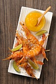 Grilled prawn skewers with mango dip