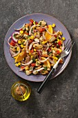 Curried chicken salad with orange, mint and red onion