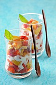 Summer trifle with strawberries and pine nuts