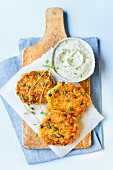 Vegetable rosti with herb dip