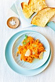 Carrot salad with garlic tortilla