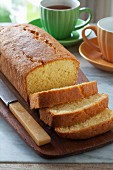 Madeira cake, partly sliced