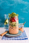 Chickpea and Zoodle Salad with Harissa Yogurt Dressing in a Jar