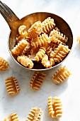 Uncooked armoniche pasta in a ladle