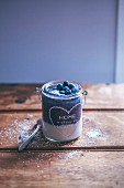 Soya yogurt and blueberry smoothie parfait in a jar
