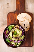 Vegan salad (einkorn, red cabbage, iceberg lettuce, lamb's lettuce, cucumber sticks)