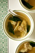 Wantons soup, with a pork dumpling (China)