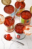 Canned Tomatoes in a opened cans