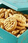 Homemade peanut butter cookies in a box