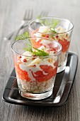 Crab verrine with tomatoes, fresh cheese and parmesan
