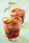 Strawberries in lemon verbena syrup