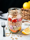 Farro and rotisserie chicken salad in a jar