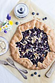 Summery shortbread galette with blueberry lemon filling and almonds