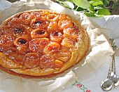 Tarte tatin on a table outdoors