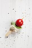 Tomaten-Mozzarella-Spiesschen mit Basilikum