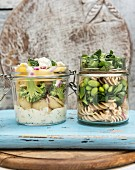 Vegan pasta salad in a jar