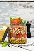 Vegan pasta salad in a jar