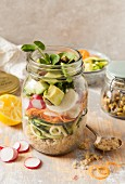 Healthy raw salad in a jar