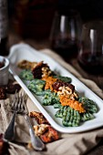 Spinach gnocchi with walnut pesto