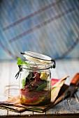 Beef salad in a mason jar