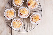 Savoury strudel muffins with beetroot and mackerel