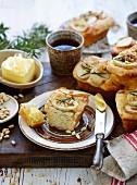 Potato, rosemary and pine nut mini loaves