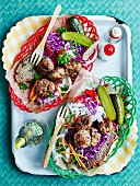 Pork and fennel meatballs with tangy coleslaw