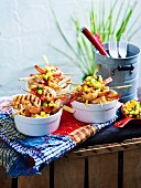 Prawn skeweres with pineapple-jalapeno salsa