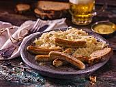 Nuremberg bratwurst with sauerkraut