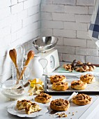 Banana and walnut scones in a vintage kitchen