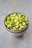 Brussels sprout leaves in a bowl