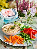 Raw vegetable sticks with a fennel and bean dip