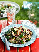 Potato salad with grilled aubergines, zucchini, pomegranate seeds and mint