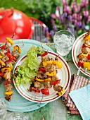 Grilled pork and pepper kebabs with honey and ginger mustard