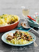 A rice bake with lamb and spinach