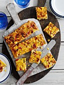 Corn bake with roasted peppers and leeks