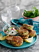 Lemon-peppered mackerel fishcakes with tomato and gherkin mayo