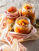 Chutney in preserving jars for gifting