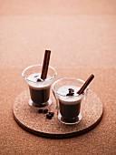 Coffee with cinnamon sticks