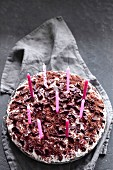 A birthday cake with candles