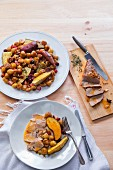 Pork fillets with chestnuts and sweet potatoes