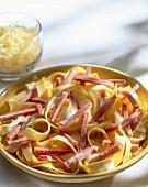 Tagliatelle with ham strips